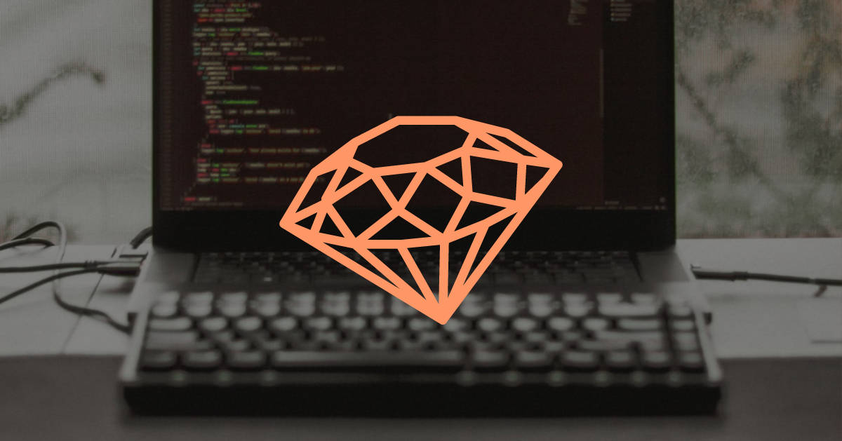 Ruby on Rails logo overlaid on an image of a computer