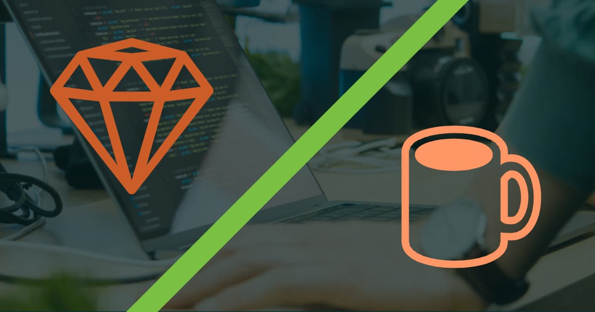 Ruby on Rails and Java logos representing if ruby on rails and javascript are similar